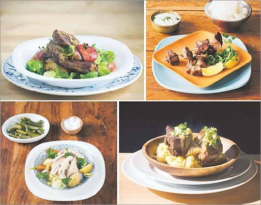 Clockwise from top left: Braised pork; marinated lamb kebabs; braised beef short ribs; poule au pot.