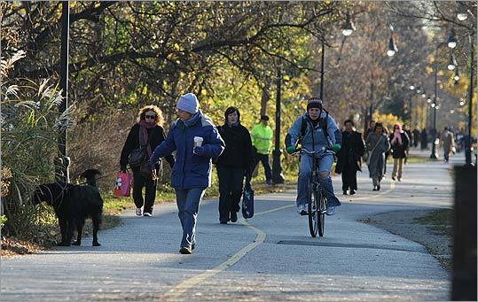 The Somerville Community Path bustles with exercising locals.