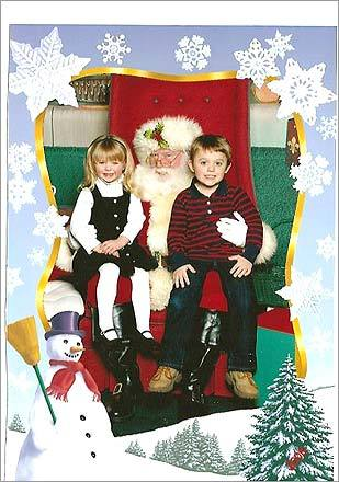 Bret and Olivia visit with Santa at the Walpole Mall. Mom, Geraldine, says 'thanks to Chris Sullivan - picture taker - for making it work - it wasn't as easy before!!'