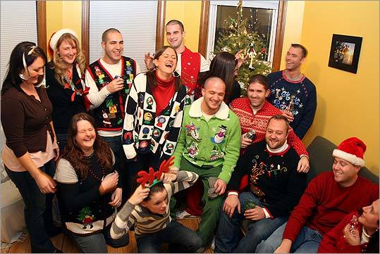 Friends wearing holiday sweaters gather in South Boston for a party.