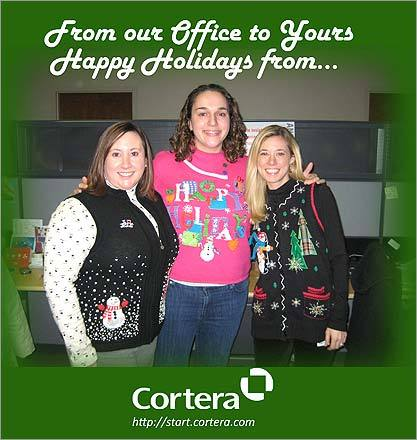 Kelli DeCosta of Norwood, Kayla Scally of Cambridge, and Ellen Potapov of Bridgewater, a.k.a The Marketing Team at Cortera in Quincy, also sported sweaters for their holiday card.