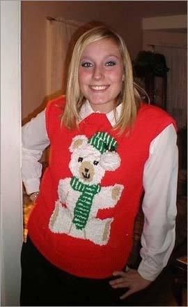 Jennifer Gecawicz gave a holiday shout-out with her attire. 'This is my mother's sweater – she wears it every Christmas.'