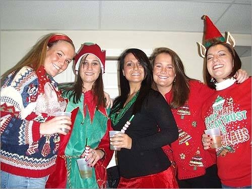 We asked you for photos of your, er, unique sweaters. And boy, did you respond. Take a look at these readers 'ugly' holiday sweaters and send us your photos ! Allison Magnan of Saugus, Raquel Gravallese of Peabody, Melissa Cosco of Waltham, Amanda Magnan of Saugus, and Rachel Cameron of Watertown have a holiday party with a theme. 'Just another night out for us girls during the holiday season, and like my sweater says, 'Santa is the only man we can trust,'' Cameron writes.