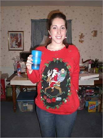 Shaina Conrad of Danvers also gave Mom a festive tribute. 'Shaina is wearing her mother's favorite Christmas sweater. She threw an amazing ugly Christmas sweater party this year!' writes Jennifer Gecawicz.