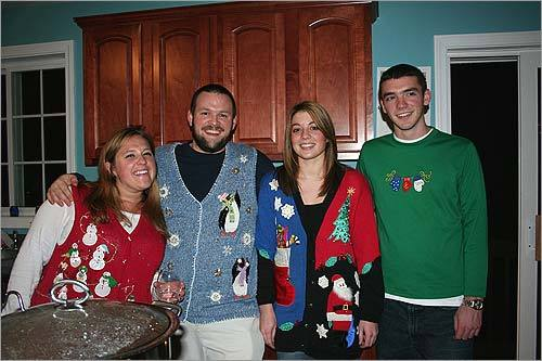 "Lindsey Pendleton of Hudson, N.H., Erik Croswell of Amherst, N.H., and Megan and Rick Fudge of Wilmington gather 'round at an ""Ugliest Christmas Sweater Party."""