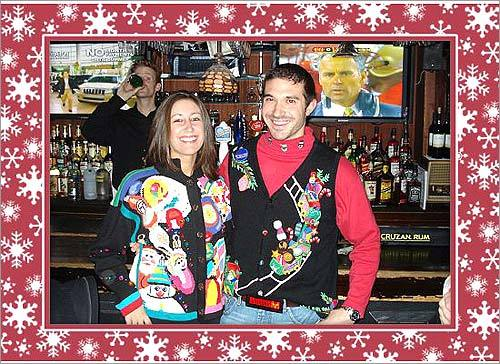 Ellen Barletto and Bryan Baretto sport some holiday threads. Ellen's sweater was purchased off eBay and Bryan's comes from the Quacker Factory Collection from QVC.