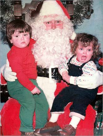 Tom McSweeney dusted off this photo of his children visiting Santa. 'I don't know or remember the Santa's name as this picture has to at least 25+ years old. We believe it was a breakfast with Santa at the church in Pembroke. The children in the photo are my son Jesse, 4, and his sister is 3,' writes Tom.