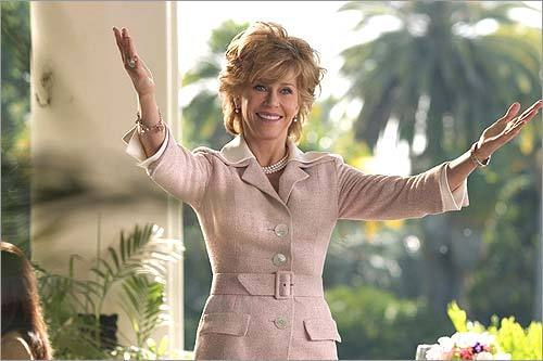 Viola Fields in 'Monster-in-Law' (Jane Fonda) Fonda, never known for her subtlety on film, goes all Mommy-in-law dearest here, screaming, yowling, and beating on the furniture when she discovers her beloved brain surgeon of a son wants to marry (egads!) a temp, played by Jennifer Lopez. 'I could just kill that dog-walking slut!' Fonda wails. In fairness, the hair extensions on JLo could make anyone homicidal.