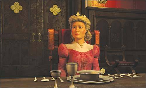 The Queen in 'Shrek 2' (voiced by Julie Andrews) Ask any mother-in-law: Occasionally the fine fellow who marries your daughter can be a bit of an ogre. Or, in the case of Shrek, pretty much a full-time ogre. Still, the Queen tries to keep an open mind about Princess Fiona's marriage to a chartreuse swamp-dweller. This time around, it's the father-in-law, King Harold, who acts like a toad.