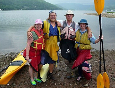 Jane Killeen, left, guides Gordon and Mike Crimp of Cape Breton Seacoast Adventures, and Robin Killeen in Ingonish, Nova Scotia.
