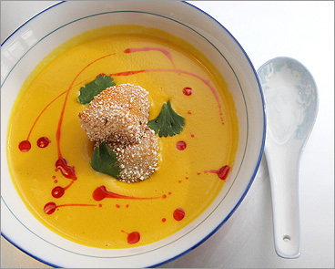 Red kuri squash soup at Myers + Chang
