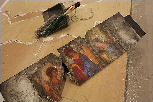 THE MODEL The murals were based on aged-looking images drawn from medieval painter Andrei Rublev's famed icon of the Trinity, housed at the Tretyakov Gallery in Moscow.