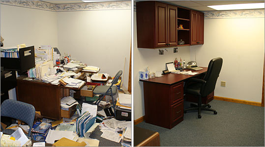 A look at Mary Hughes' home office in Canton, before (left) and after the makeover.