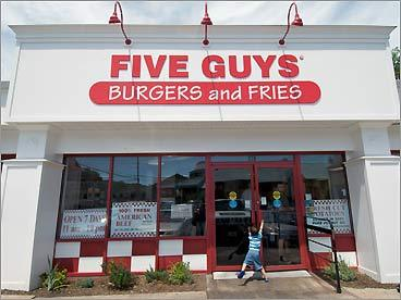 Five Guys Burgers and Fries // Four Burgers There's no better place to satisfy a burger craving than Five Guys, and (finally!) two have opened locally, in Dedham and Foxborough. Started in a suburb of Washington, D.C., the rapidly expanding fast-food franchise will quickly have you falling for the juicy, greasy stacks. Single and double burgers are made to order (but they're always well done), and you pick from 15 classic toppings. At Four Burgers, in Central Square, the space is charmless but the meat sizzles. Choose among four patties: beef, turkey (highly recommended), veggie, or wild salmon. The fries are a must if you love skinny spuds that are crisp on the outside, soft and feathery on the inside. Five Guys Burgers and Fries, Dedham Mall, 781-326-1158, and Patriot Place, Foxborough, 508-203-9441, fiveguys.com ; Four Burgers, 704 Mass. Avenue, Cambridge, 617-441-5444 , fourburgers.com