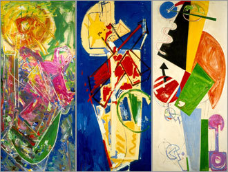 Paired with Catalonian architect Josep Lluis Sert for a New York City gallery show, Hans Hofmann produced a series of murals (above) that imagined the rebuilding of the city of Chimbote in Peru.