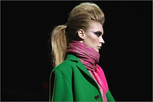 Hair was a focal point of Marc Jacobs Fall 2009 show, as this model wore her hair high.