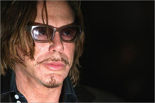 Oscar-nominated actor Mickey Rourke of 'The Wrestler' attends the Domenico Vacca Fall 2009 fashion show in the Salon at Bryant Park.