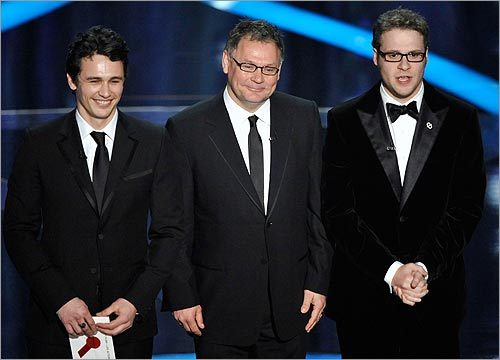 James Franco, Janusz Kaminski, and Seth Rogen