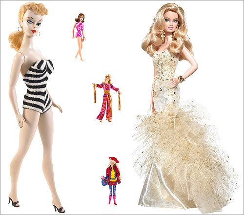 Over the course of 50 years, Barbie has enraged feminists, beguiled little girls, and built an empire. And she's changed, too. Take a look at 50 years of Barbie dolls, starting with Mattel co-founder Ruth Handler's original model, and tell us about your memories of Barbie .