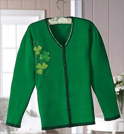 Sparkling shamrock sweater : $24.99 Just in case it is chilly (OK, it almost definitely will be), you'll need something fashionable to keep you warm. Hopefully without losing the whole 'Irish pride' thing. This sweater ought to do the trick. And it's modestly priced, too.