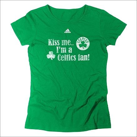 Celtics 'Irish Kiss' shirt : $25.95 OK, maybe it's not Obama pride you're itching to show off. Maybe it's Celtic pride. The C's have issued a slew of shirts and jackets for St. Patrick's Day, including this little number. Now you can support the team, and celebrate St. Patrick's Day. And if things go smoothly, you may even get to wear this shirt to another parade in June.