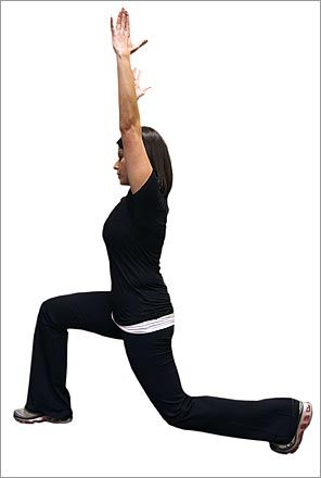 Warm-up 2: Lunge with overhead reach. Start with hands on hips. Lunge forward with your right leg and reach with your hands overhead. (Don't lunge too far. You'll want to make sure your toes are behind the knees.) Take it slow. Repeat, lunging with the left leg. Do 20 reps - 10 per side.