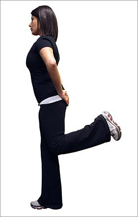 Warm-up 3: Glute kicks. Also known as 'butt kicks.' Walk or run forward so that your heel touches your rear end. This helps stretch the quadriceps (the large muscles on the fronts of your thighs) and activates hamstrings on the back of the thighs.