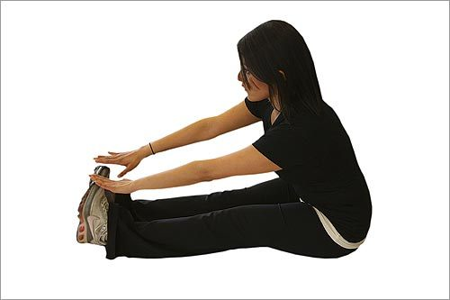 Cool-down 2: Hamstring stretch. Sit on the floor with legs straight in front of you. Point toes up and reach hands toward feet. Hold for 20 seconds. Repeat 2-3 times.