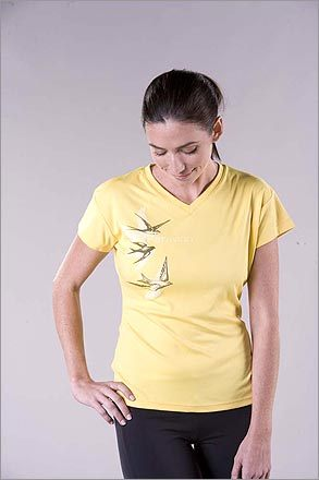 Par Avion Top , $35, from Oiselle, www.oisellerunning.com . The name of this Seattle-based running wear company means 'bird' in French. May we suggest this fitted tee for your next flight down the Esplanade?