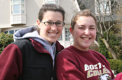 Boston College freshmen Ellen Zatkowski and Allison Sandler, both 19, arrived on the sidelines just in time to see the men's wheelchair leaders pass by.