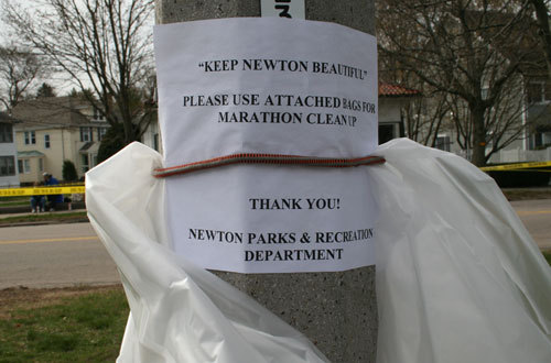 The City of Newton provided handy trash bags for revelers along the route.