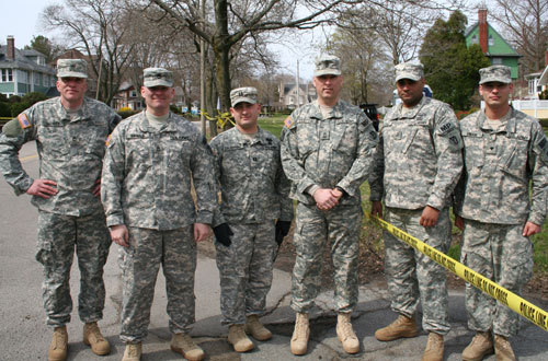 Soldiers from the 972 Military police company: Michael Hickey, Ken Harold, John Chiappone, Jay Sartori, Alex Lopez, and Josh DiMare.