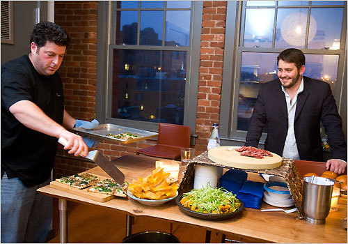 Evan Deluty, of the restaurant Stella in the South End (left) and Will Gilson, chef of Garden at the Cellar, are two of the chefs who get together to cook. Sometimes they're in a home kitchen, other times, after the customers have gone, they lock their restaurants and cook up a feast there. You might think they're fiercely competitive; but these guys (yes, it's mostly men) actually bask in each other's achievements. One success leads to more, they say.