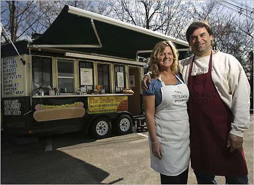 In Framingham on Speen Street, Diane and Ed Hyman run The Trolley Stop. They also own Trolley Stop Jr., at the Building 19 parking lot in Natick. The pair left their respective careers – he was a social worker, she owned a daycare – to open the two food trucks last year. Read more: How about two food trucks to enrich a marriage? It's working. (April 22)