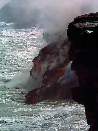 In Hawaii. 'Liquid earth streams into the sea on to George Washington from the monkey of the hill as other screaming faces emerge from the fire.'