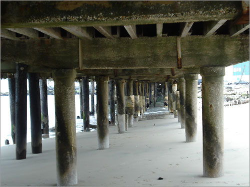 Under the boardwalk in Atlantic City.