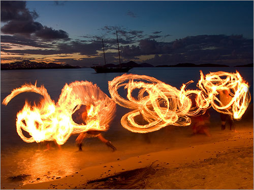 Fire dancers on St. John, US Virgin Islands.