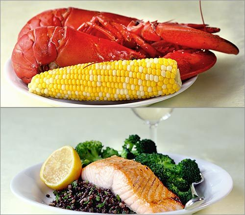 Lobster with corn or Broiled salmon, lentils, vegetables, wine There's actually not much meat in 2 lobsters, but the corn is satisfying. If you're looking for the most filling meal, it's probably the salmon dinner. But if you're at a clam shack by the sea and looking at the choices, 2 lobsters (no butter) and the corn will fit the bill. The typical American diet contains only about 15 grams of fiber a day. So, for the same number of calories (about 550), you can have salmon, broccoli, lentils, and wine for dinner (about 14 grams of fiber), or two slices of pepperoni pizza (about 2 grams of fiber).