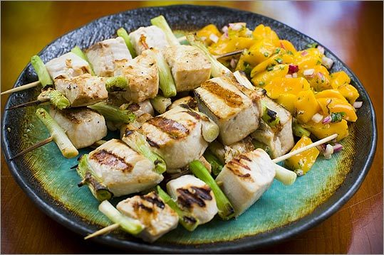 Asian seafood kebabs with spicy salsa make an ideal lunch or dinner.