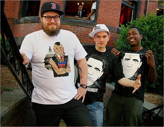 Domenick Cimino, Mayan Tamang, and Steve Osemwenkhae have designed Obama T-shirts.