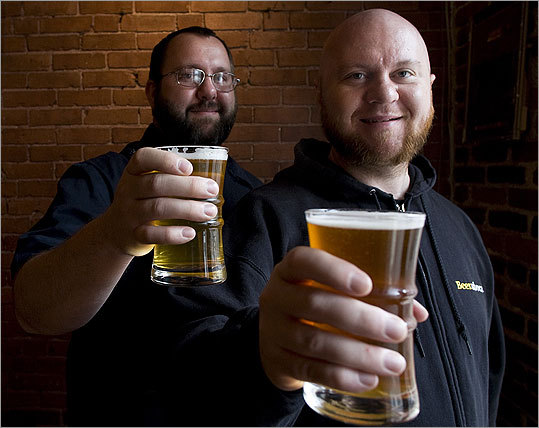 Jason (left) and Todd Alström at 303 Cafe in East Boston. The brothers rely on ''beer geeks'' for many of their reviews. ''I can't sit there and drink those beers all day,'' says Todd.
