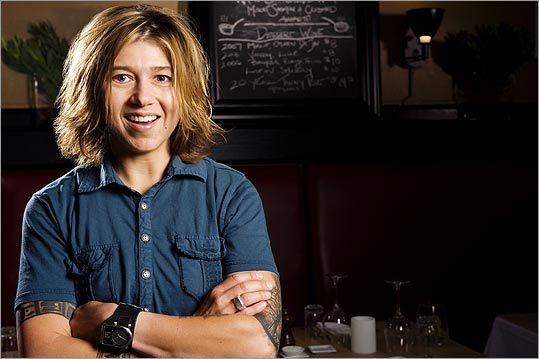 Krista Kranyak, the owner of Ten Tables in Cambridge, says, 'Since the recession hit, we've been doing better than ever.' Her restaurant offers a casual setting and dishes with a local ingredients.