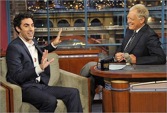 Sacha Baron Cohen and David Letterman