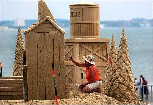 sand sculpting at Revere Beach