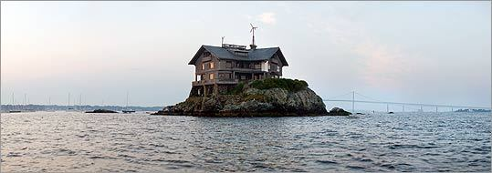 A panoramic view of Clingstone in Narragansett Bay. The Rhode Island house sits only 20 feet above sea level.
