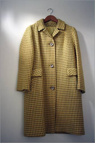 "Yellow pea coat ""This 1960s pea coat was about to be reworked into some clutches by the Boston handbag designer Frock [Nicole Keane]. I tried it on and fell in love… she let me keep it."""