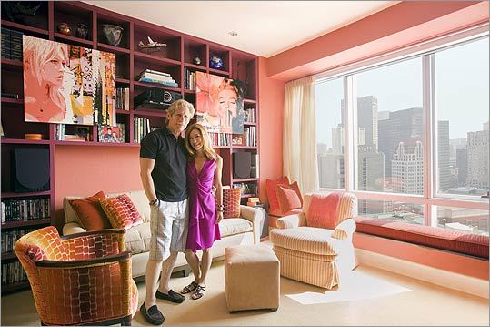 High definition Avoiding pale colors that are hard for Mitch Sayare (with wife Chrissy) to discern, Jill Diamandis of Fotene Design chose saturated hues for the couple's media room.