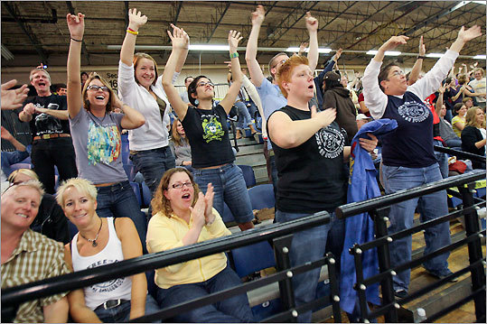 Fans cheered during the bout.