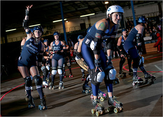 Boston Massacre took the track before the bout. Team members were introduced and organizers gave newcomers a quick lesson on scoring and roller-derby rules. Boston Massacre is the Boston Derby Dames' travel team, currently ranked fifth in the East.