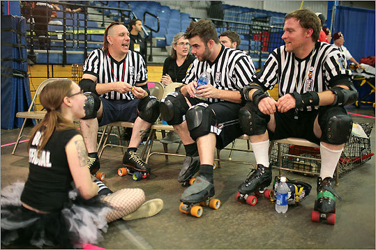From left: Official Messy Jessy and referees Rat-Free Crotchless, Crash Daily, and Buzzy talked among themselves.
